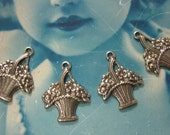 Silver Ox Plated Petite Basket Of  Flowers Charms 273SOX x4