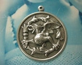 Silver Ox Plated Winged Dragon Medallion Stamping Charms 576SOX  x2