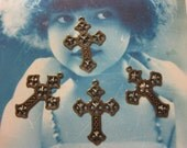 Brass Ox Plated Filigree Cross Pendants Charms 518BOX x4