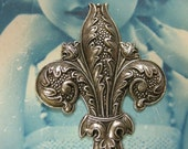 Silver Ox Plated Ornate Large Fleur De Lis Stamping 405SOX x1
