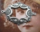 Silver Ox Plated Ornate Open  Frame Connectors 36SOX x2