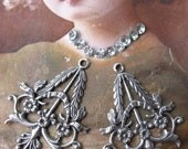 Sterling Silver Ox Plated Floral Filigree Earring Drops/chandeliers 496SOX x2
