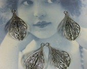 Silver Ox Plated Intricate Filigree Leaf Dangles 478SOX x4