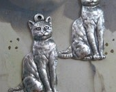 Sterling Silver Ox Plated Brass Cat Charms 153SOX x2