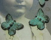 Verdigris Patina Brass Butterfly Charms 327VER x4