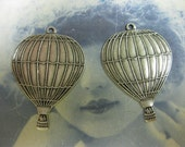 Silver Ox Plated Large Hot Air Balloon Charms 560SOX x2