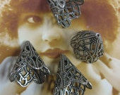 Silver Ox Plated Filigree Bead Caps 869SOX x4