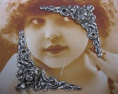 Sterling Silver Ox Plated Art Nouveau Corner  81SOX x2