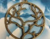 Antique Bronze Finish Round Tree Pendants  877BRZ x2