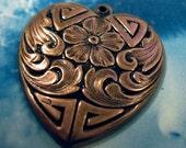 Copper Ox Plated Ornate Heart  Pendants 400COP x2