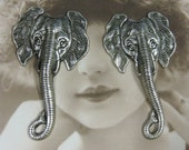 Silver Ox Plated Large Elephant Head Pendants 975SOX x2