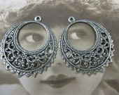 Sterling Silver Ox Plated Filigree Earring Hoops 471SOX x2