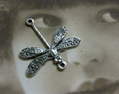 Sterling Silver Ox Plated Brass Dragonfly Connectors 997SOX x4