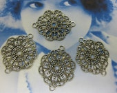 Sterling Silver Ox Plated Round Filigree Connectors 2SOX x4