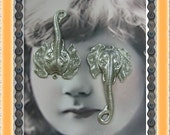 Sterling Silver Ox Plated Brass Elephant Head Pendants with Loop 590SOX x2