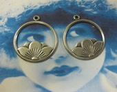 Silver Ox Plated Lotus Blossom Charms 1078SOX x2