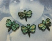 Verdigris Patina Small Brass Butterfly Dragonfly Charms  772VER x4