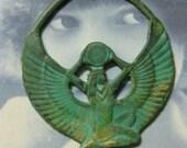 Verdigris Patina Egyptian Goddess Isis Brass Pendant 753VER x1