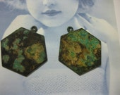 Verdigris Patina Brass Hexagon Shape Tags 133VER x2