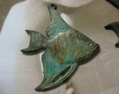 Verdigris Patina Brass Angel Fish Stampings Charms Pendants 121VER x2