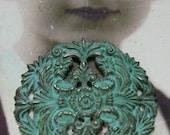 Brass Floral Filigree Verdigris Patina 12VER x2