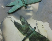Hand Aged Verdigris Patina Large Dragonfly Brass Charms Pendants 323VER x2