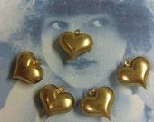 Puffy Brass Heart Charms 427RAW x4
