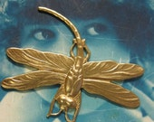 Raw brass Large Very Detailed Dragonfly Stampings 325RAW x2