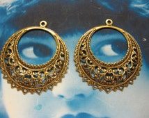 Brass Ox Plated Large Filigree Earring Hoops 1024BOX x2