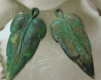 Verdigris Patina Leaf Charms New Size 64VER x2