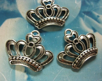 Antique Silver Ox  Plated Crown Charms 706SOX x4