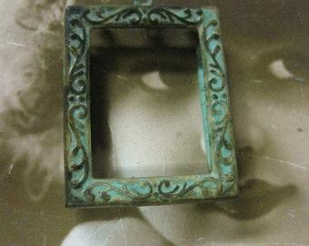 Verdigris Patina Frame Stamping Pendant 695VER x1