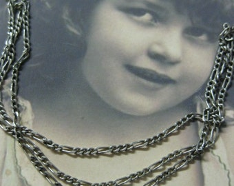 Delicate Figaro Chain Silver Ox Plated 5004SOX