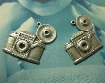 Antique Style Flash Bulb Camera Charms Silver Ox Plated 568SOX x2