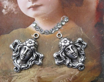 Silver Ox Plated Art Nouveau Women's Head Charms 361SOX x2