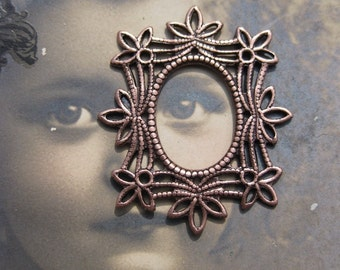 Copper Ox Plated  Brass Filigree Frames Jewelry Connectors 8COP x2