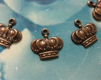 Copper Ox Plated Brass Crown Charms 388COP x6