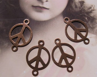 Copper Ox Plated 15mm Peace Sign Connectors 710COPx4