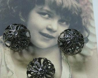 Antique Bronze  Filigree Beads 18mm 623BRZ x2
