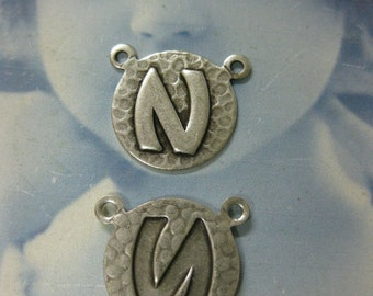 Silver Ox Plated  Art Deco Style Initial Charms Letter N 768 SOX x1