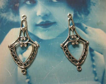Silver Ox Plated  Filigree Earring Dangles 486SOX x2
