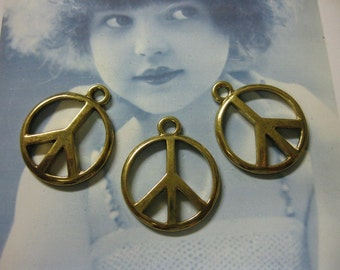 25mm Antique Brass Casted  Peace sign charms 237GOL x4