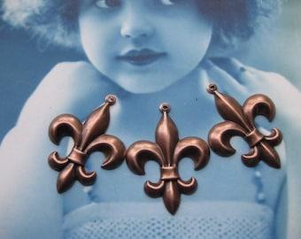 Fancy Fleur De Lis Charms Copper Ox Plated 417COP x2