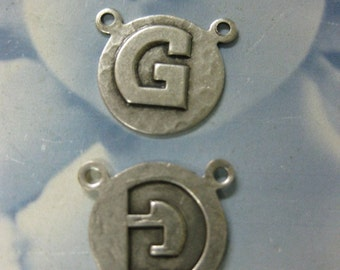Silver Ox Plated  Art Deco Style Initial Charms Letter G 768g SOX x1