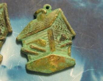 Verdigris Patina Brass Bird House Charms 655VER X2