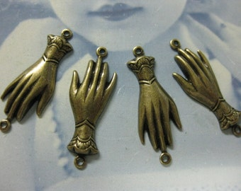 Brass Ox Plated Victorian Style Hand Connectors 763BOX x4