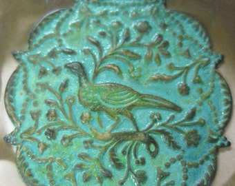 Verdigris Patina Brass Bird  in a Tree Stamping Charm with or without Holes 316VER x1