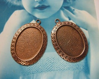 Copper Ox Plated Large Oval Brass Bezel Settings 193COP x2