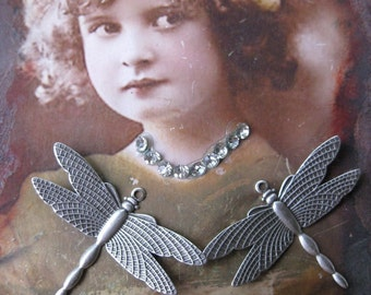 Sterling Silver Ox Plated Dragonfly Charms 321SOX x2
