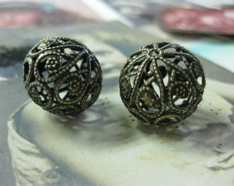 Antique Bronze Plated Nickle Free Iron Filigree Beads 20mm 611BRZ x2